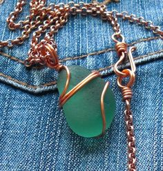 Seaglass Jewelry - copper & teal | Copper wire wrapped teal … | Flickr