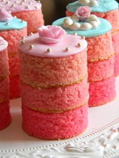 Mini Pink Ombre Cakes. Just without fondant on top. - No recipe here, but the idea is simple enough.
