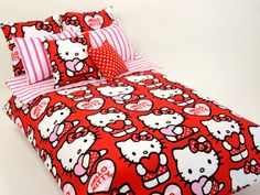 Hello Kitty Bed Set for 16 Scale Dolls Pink & by ElleLaLaBoutique Hello Kitty Bedroom, Hello Kitty House, Kawaii Bedroom, Miss Kitty, Bed Styling, Sanrio, Girls Bedroom, Dorm Room, Bed Sheets