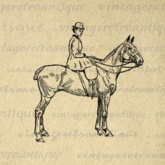 Digital Printable Woman Riding Horse Image Horseback Rider Graphic Download Vintage Clip Art. Vintage digital image graphic from antique artwork. This high resolution printable digital artwork is great for transfers, printing, t-shirts, and many other uses. Antique artwork. This digital graphic is high quality at 8½ x 11 inches large. Transparent background version included with all images.