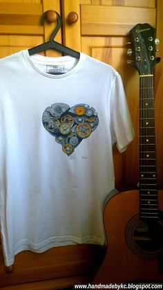 hand painted t-shirt with steampunk heart enjoy! #handmade #steampunk #heart #love #enjoy