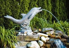 Dolphin fountain and other sea animal sculptures for the garden and yard.