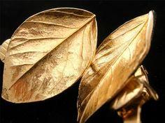Signed Trifari TM Fall Leaf Clip Gold Tone Earrings Estate Vintage | eBay