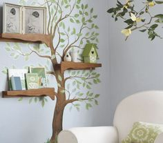 Paint a tree on your walls and use actual collected branches from walks as extra shelving and hooks