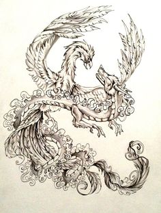 I have to tell you guys.this has been my baby these past few days. I wanted to do a dragon and phoenix like this for a while now. Dragon and Phoenix Tattoo Design Body Art Tattoos, New Tattoos, Tatoos, Fenix Tattoo, Phoenix Dragon, Phoenix Tattoo Design, Dragon Tattoo Designs, Dragon Tattoos, Dragon Art