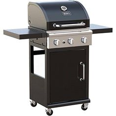 3burner Outdoor BBQ Gas Grill With Foldable Side Panels and Swivel Casters Black
