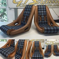 Our Solitude seat in tan leather w plaid centers,5point ready for a Porsche 356 T6 #customseats #plaid #Solitude #GtsClassics #leather #handmade #5points #Porsche356 #ClassicCarSeats #classicPorsches