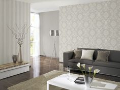 Wallpaper ORNAMENT non-woven wallpaper P + S 1311050 Baroque gray silver # 13110 # 1311 . Tapete Beige, Ornament Tapete, Home Wallpaper, Wallpaper Ideas, Baroque, Couch, Ornaments, Living Room, Interior Design