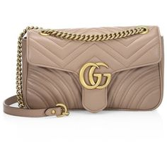 Gucci Small GG Marmont Matelassé Leather Chain Shoulder Bag (94,725 PHP) ❤ liked on Polyvore featuring bags, handbags, shoulder bags, leather hand bags, chain shoulder bag, brown leather shoulder bag, gucci purse and hand bags