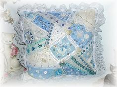 Winter Snowman Crazy Quilt Patchwork Pillow by Kittyandme on Etsy,