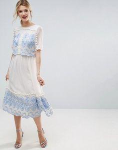 0e30b3416afe Asos PREMIUM Double Layer Midi Embroidered Dress Abito Impreziosito