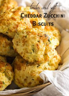Soft and Tender Zucchini Cheddar Biscuits - Just a Little Bit of Bacon- Zucchini cheddar biscuits are soft, tender and full of shredded zucchini and sharp cheddar. Just drop them onto the baking tray and go. Zucchini Zoodles, Bacon Zucchini, Zucchini Bread Recipes, Zucchini Scones Recipe, Shredded Zucchini Recipes, Mexican Zucchini, Zucchini Boats, Queso Cheddar, Cheddar Biscuits