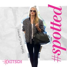 #Kitsch #Spotted: Rosie Huntington before a flight in a printed Stella McCartney Jacket.