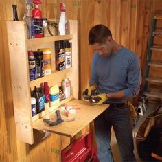 Organize your auto lubricants, fluids and other items in this simple shelf/work table cabinet. Build it in a few hours and keep all your auto needs close at hand.