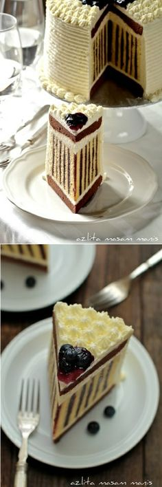 Delicious Blueberry Striped Cake