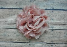 Shabby Chic Big Chiffon and Lacy Tulle Flower Hair Clip - Girl and Baby Hair Clip - Antique Mauve - Blush - Wedding. $10.00, via Etsy.
