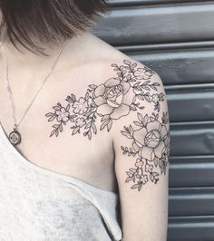 Dotwork peonies on shoulder by Lily Anchor