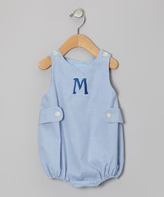 Take a look at this Blue Gingham Initial Bubble Bodysuit - Infant by Monday's Child on #zulily today!