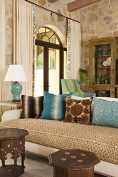 My living room color scheme is  light gray, brown and my accent color is blue. I love the decor in this living room!