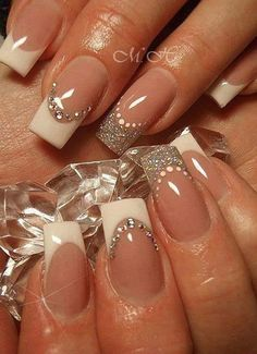 35 Splendid French Manicure Designs: Classic Nail Art Jazzed Up French Nails Blue Nails, Glitter Nails, Silver Glitter, Silver Ring, Glitter Art, Sparkly Nails, White Tip Acrylic Nails, White And Silver Nails, Nail Bling