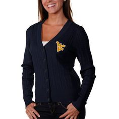 Tommy Hilfiger West Virginia Mountaineers Ladies Jenny Full-Button Cardigan - Navy Blue