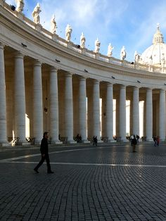 """""""We tried to make visual the use of this remarkable set of pillars at Bernini's colonnade. Famed for their symmetry, they're intended to symbolize the embracing arms of the Church."""" – Don Wildman"""