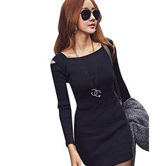 Women Dress Blackobe Women Long Sleeve Knit Knitwear Short Mini Dress XXL Black ** Be sure to check out this awesome product. (Note:Amazon affiliate link)