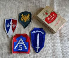 Vintage Lot US Army Military WWll Embroidered Patches Infantry North Fifth 1950s