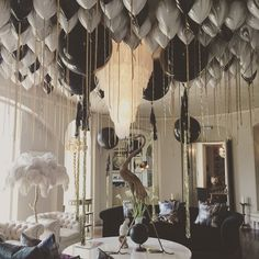 The salon is transformed! @3bubblegumgirls you've done it again! #timwalker #marble #balloons #birthday A ceiling of #marble #gold #black #aynhoepark #bubblegumballoons
