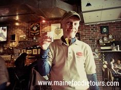 #MaineFoodieTour Guide, Randy, telling the group about the #craft #beer selections at #GrittyMcduffs.