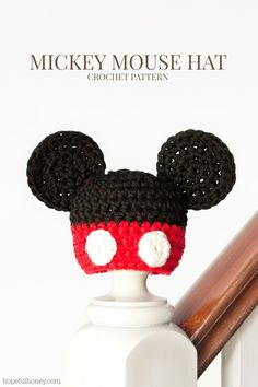 Newborn Mickey Mouse Inspired Hat Crochet Pattern via Hopeful Honey