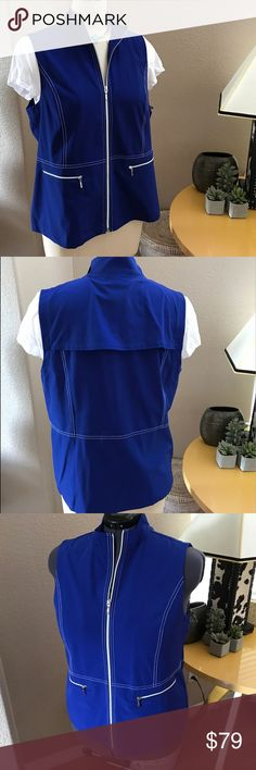 NEW WITH TAGS CHICOS GOLF VEST IN ELECTRIC BLUE. Great Looking Blue Vest in CHICOS size2(14-16). NEW WITH TAGS. ☀️Easy to Pair with Black or White pants, Capris or Shorts. 😎😎Don't Play Golf? WHO cares??? 😏😏THIS IS VEST IS GREAT CAMOUFLAGE AND SUPER WITH CRISP WHITE ALL YEAR ROUND. 🅱️🅱️BUNDLE TO SAVE🅱️🅱️Please note my grey mannequin is size 14-16. ALL ITEMS IN THIS CLOSET ARE FROM MY PERSONAL WARDROBE. Chico's Tops