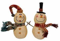 primitive snowman   Set of 2 - Primitive Cloth Snowman Couple with Twig Arms - Christmas ...