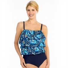 Comfortable and modest triple-tier swimsuit.
