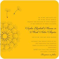 Signature White Wedding Invitations Soft Dandelions - Front : Citrus