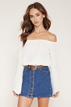FOREVER 21 off-the-shoulder peasant top