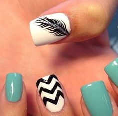 cute teal nail design with feather and stripes. Discover and share your fashion ideas on misspool.com