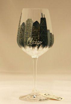 Hand Painted Wine Glass: Chicago Skyline
