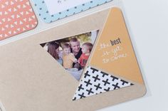 Project Life Idea: Try a triangle crop on photos and paper Project Life Baby, Project Life Album, Project Life Layouts, Project Life Cards, Pocket Scrapbooking, Scrapbooking Layouts, Life App, Doodle Coloring, Smash Book