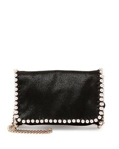 Falabella+Pearly-Trim+Crossbody,+Black+by+Stella+McCartney+at+Neiman+Marcus.