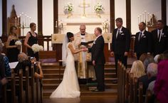 The bride and groom exchange vows at St. Marks in Berkeley  http://poppyandjune.com/2015/08/10/real-wedding-jack-pearl/