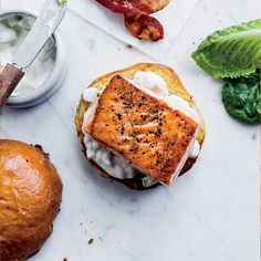 Salmon Sandwiches with Bacon and Apple-Horseradish Mayo Recipe - Justin Chapple | Food & Wine *cut the bun for #whole30