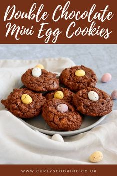 Deliciously decadent cookies crammed with mini eggs. These Double Chocolate Mini Egg Cookies will make you want to stock up on mini eggs so you can make them all year! Double Chocolate Cookies, Easter Chocolate, Easy Easter Desserts, Easter Recipes, Vegetarian Chocolate, Chocolate Recipes, Spring Recipes, Holiday Recipes