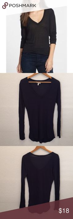 """{Nordstrom} Leith Long Sleeve V-Neck Tee This sheer long-sleeve tee is designed with a V-neckline and a rounded hem for a perfect lightweight layering option. 28"""" length (size Medium). 100% modal. Machine wash cold, tumble dry low. By Leith; imported. Savvy. leith Tops"""