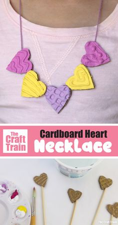 Gorgeous heart shaped cardboard necklace to make for valentines day with textured patterns made by hot glue gun. This would make a sweet handmade gift idea! Crafts With Hot Glue, Glue Gun Crafts, Crafts For Kids To Make, Kids Crafts, Toddler Valentine Crafts, Diy Valentines Cards, Homemade Valentines, Rainy Day Crafts, Valentine's Cards For Kids