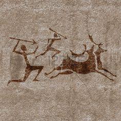 höhlenmalerei: Alte Felsmalereien zeigen primitiven Menschen Jagd auf Tiere Illustration Illustration