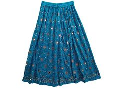 New Women Bohemian Chic Dodger Blue Gypsy Sequin Skirt Bellydance Long Skirt