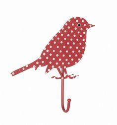 Haakje vogel rode stip | Kapstokken & haakjes | Cowboys & Cupcakes
