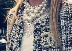 Classic pearls, tweed and Chanel brooch combo. Details In Streetstyle