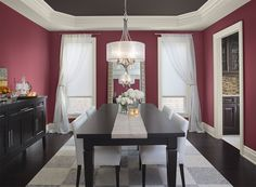 Beautiful Berry Red color for the Dining Room... love love love it! Paint by Benjamin Moore. www.benjaminmoore.com #americanmade #paint